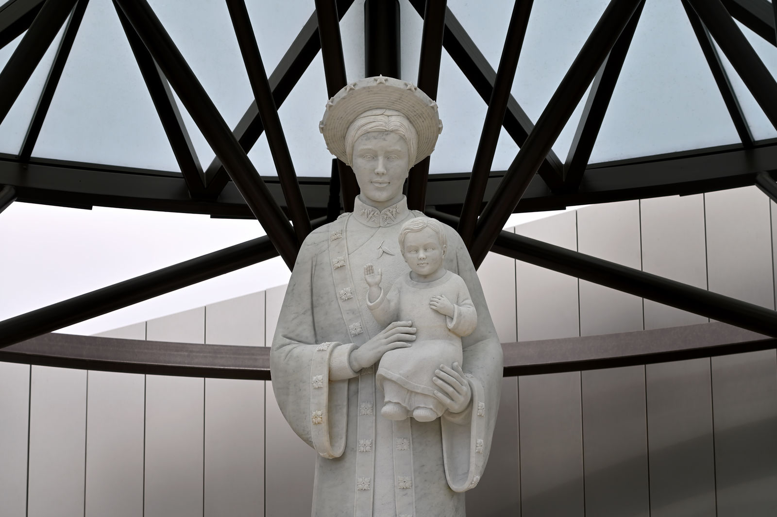 The Our Lady of La Vang statue depicts the Virgin Mary, with Baby Jesus in her arms, as they are believed to have appeared in a 1798 Marian apparition in Vietnam. The Diocese of Orange and Christ Cathedral unveiled the shrine before thousands of supporters during an elaborate July 17 solemn blessing day that included a Mass, processional and live entertainment. Photo courtesy Diocese of Orange.