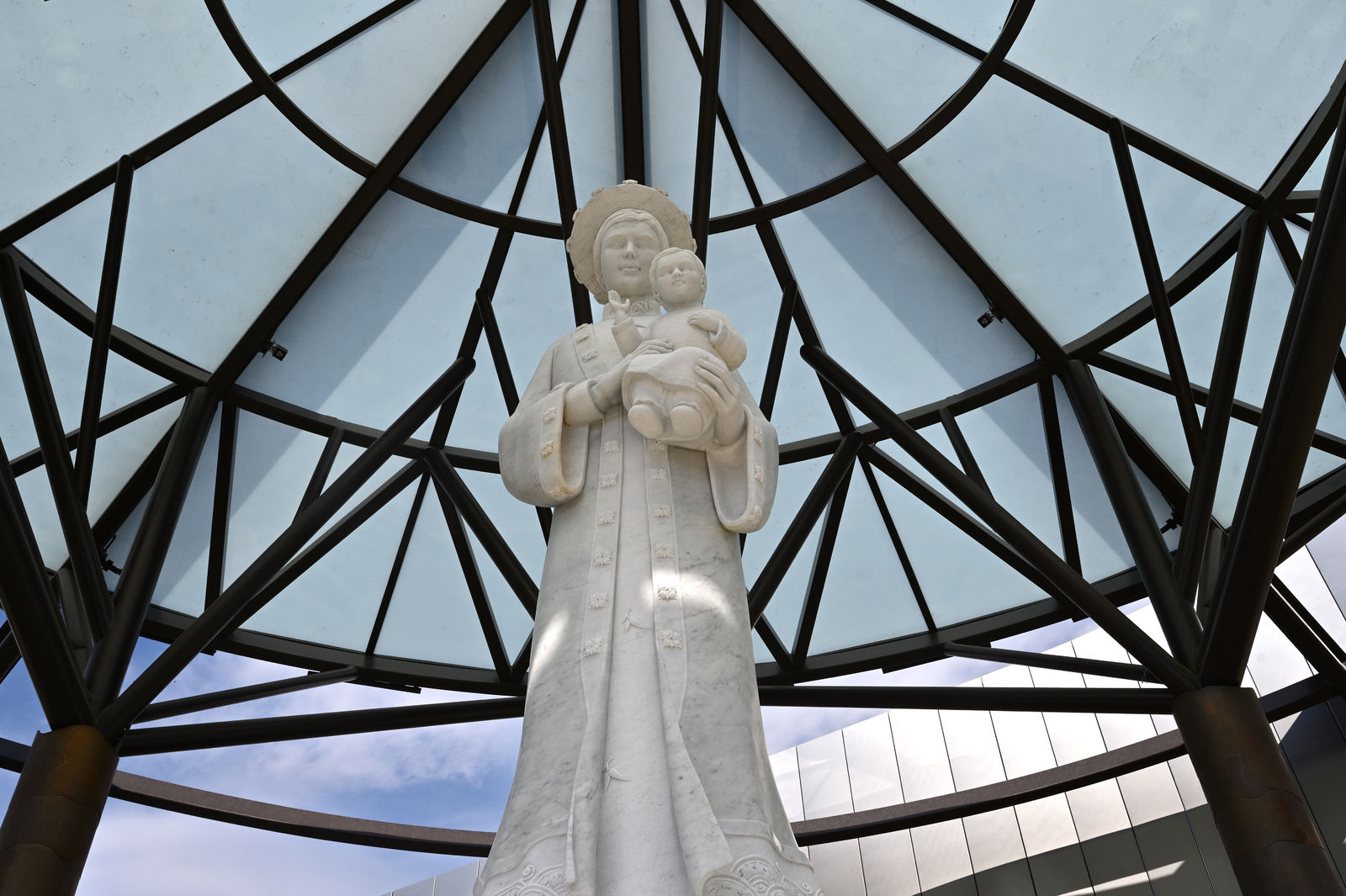 The Our Lady of La Vang Shrine, with a canopy-like design, was designed to evoke the remote rainforest setting of the 1798 Marian apparition. Photo courtesy Diocese of Orange.