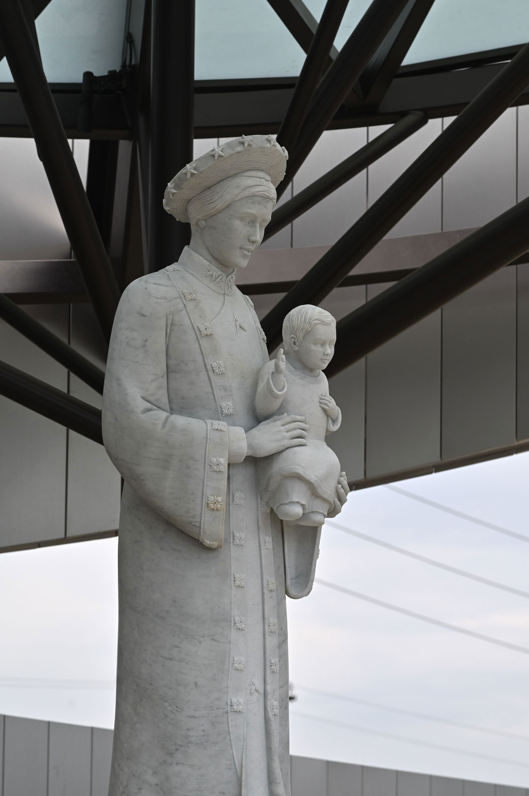 The Our Lady of La Vang statue is 12 feet tall and weighs and estimated 16,000 pounds. It was carved from white marble extracted from a quarry in Carrara, Italy. Photo courtesy Diocese of Orange.