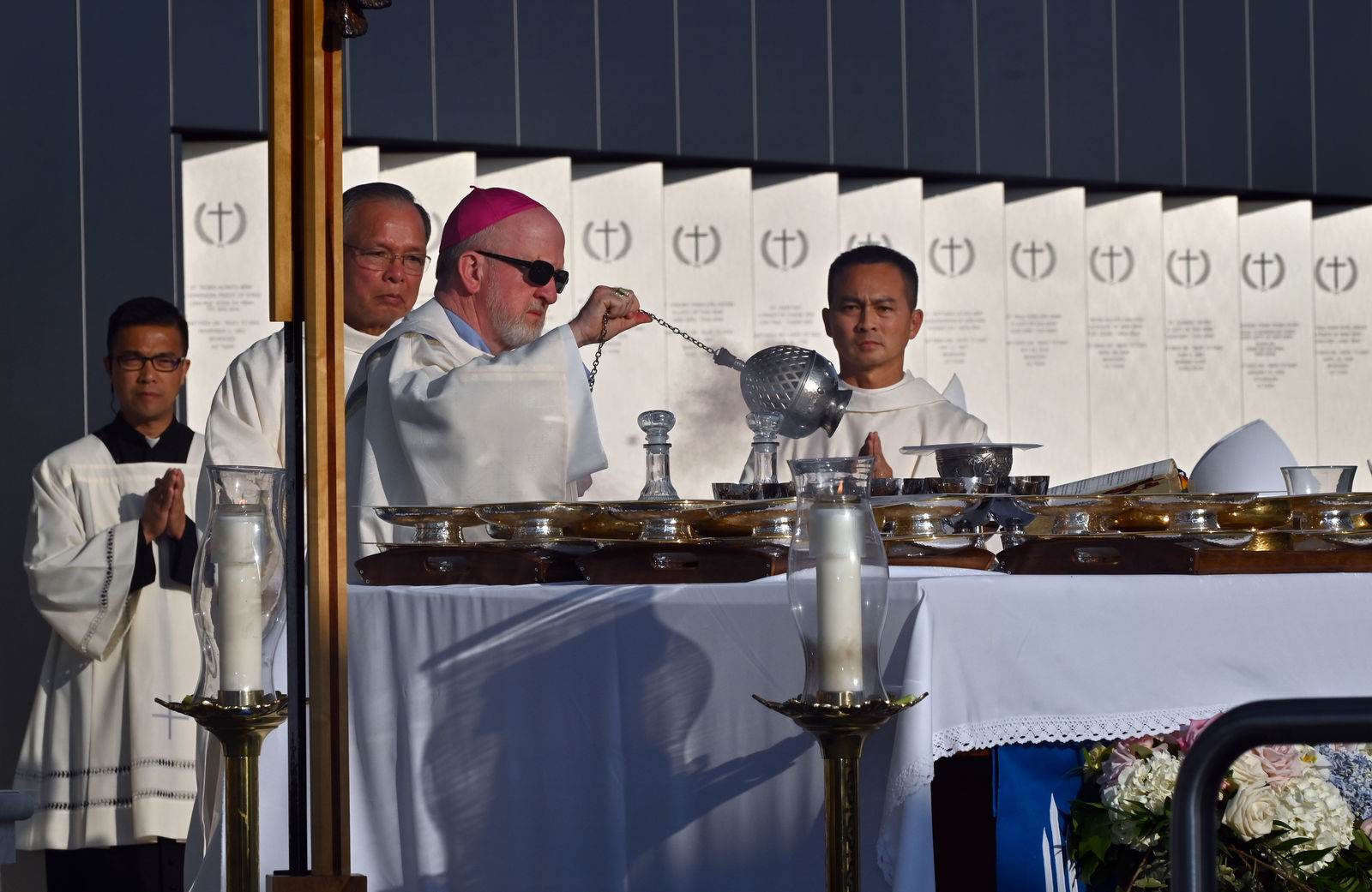 Bishop Kevin Vann holds an incense brazier during Our Lady of La Vang Solemn Blessing Day. Photo courtesy Diocese of Orange.